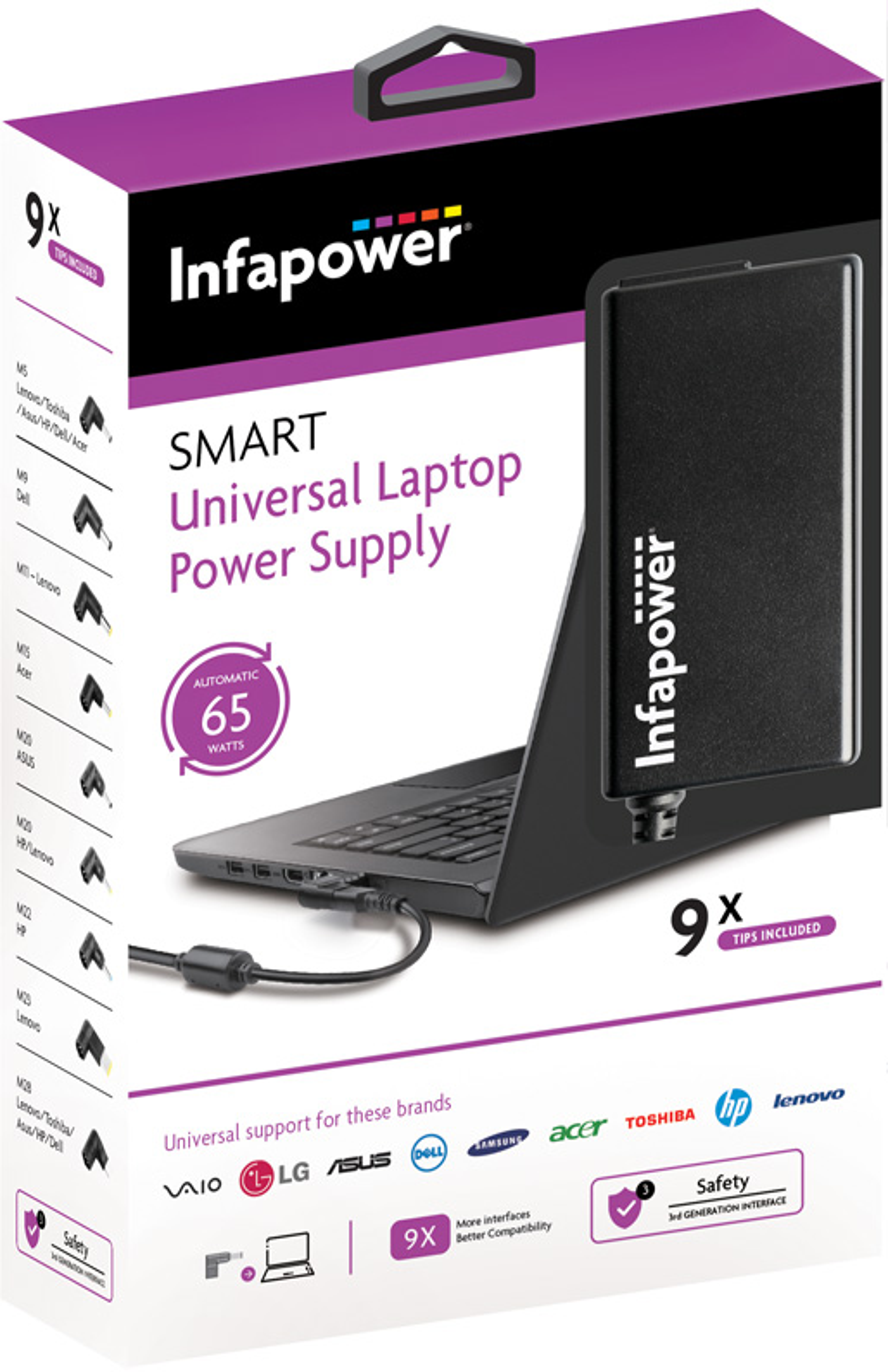 P033: 65W Universal Laptop Power Supply